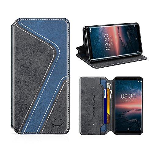 MOBESV Smiley Nokia 8 Sirocco Hülle Leder, Nokia 8 Sirocco Tasche Lederhülle/Wallet Hülle/Ledertasche Handyhülle/Schutzhülle mit Kartenfach für Nokia 8 Sirocco, Schwarz/Dunkel Blau