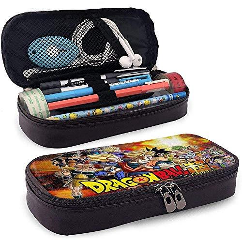 Estuche de lápices de cuero divertido Estuche de papelería escolar Estuche de maquillaje Super Dragon_Ball