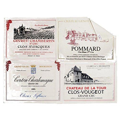 Winkler - Set de table Tissu Bourgogne – Lot de 4 pièces – 47x34 cm – Napperon rectangle – 100% coton – Lavable et facile à nettoyer - Imprimé vins de France