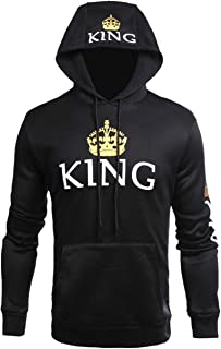 Zzhong Men's King Printed Drawstring Hoodie Sweatshirt Couple Matching Top