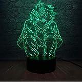 Lámpara 3D Death Note L Lawliet Figura de acción Mesa Led Luz de noche Multicolor Juguete de dibujos animados Luminaria Teen Room Decor Gift