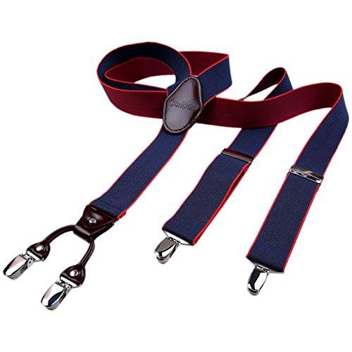DonDon Herren Hosenträger 3,5 cm breit 4 Clips mit braunem Leder in Y-Form elastisch und längenverstellbar dunkelblau