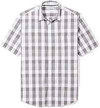 Amazon Essentials Men's Regular-Fit Short-Sleeve Casual Poplin Shirt, Grey Check, XX-Large
