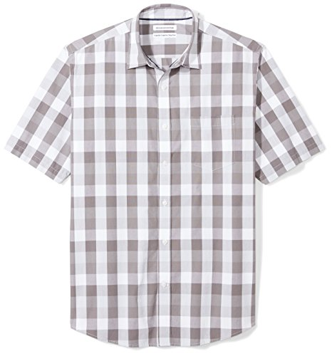 Amazon Essentials Men's Regular-Fit Short-Sleeve Casual Poplin Shirt, Grey Check, Large