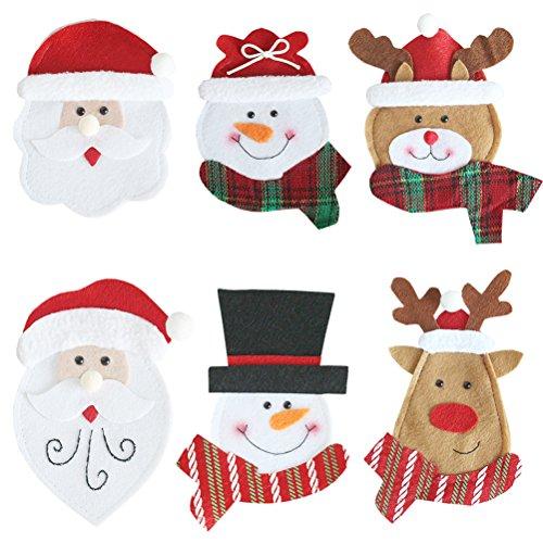 OUNONA 6pcs Weihnachtsgeschirr Organisator Besteck Taschen Messer und Gabel Lagerung Taschen Fall f¨¹r Zuhause K¨¹Che Weihnachten Party Hochzeit Desktop Dekoration