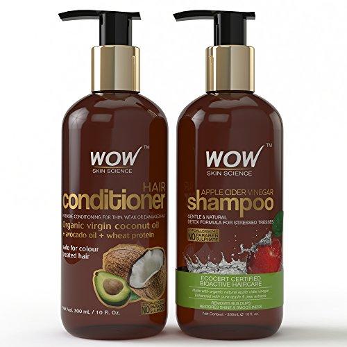 Wow Apple Cider Vinegar Hair Shampoo and Wow Hair Conditioner Set- Clarifying, Damage Repair,...