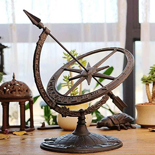 Skulptur,Gusseisen Garten Sonnenuhr Wind Armillar Kompass Uhr Römische Ziffern Ornamente