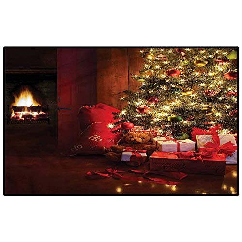 Christmas Home Dynamics Rugs Non Slip Rug New Year Xmas Trees for Living Room Kid Girls Carpets Home Bed Kids 5 x 6 Ft