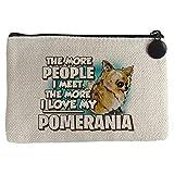 Diver Bebé Monedero I love my Pomerania mascota raza perro - Beige, 15 x 10 cm