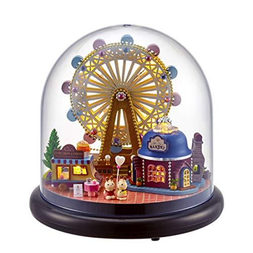 Poxl Casa de muñecas de madera, miniatura, casa de muñecas DIY para niñas y niños a partir de 3 años (rueda gigante)