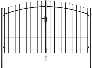 vidaXL Fence Gate Double Door with Spike Top Outdoor Driveway Entrance Garden Patio Backyard Terrace Property Barrier Stee...