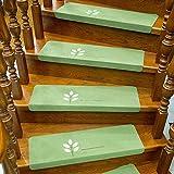 Accesorios de casa 7 Piezas de Auto-Adhesivo Antideslizante Seguridad Escalón Pisadas Mats Inicio Tapetes De Ratón Escalera Zona R (Color : Green)