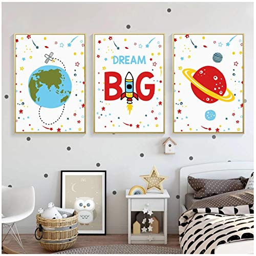 MTMTMT Big Dream Outer Space Canvas Painting Poster Space Illustration Baby Nursery Wall Art Picture Kids Room Decor Print 15.7x19.7in (40x50cm) x3 pcs No Frame