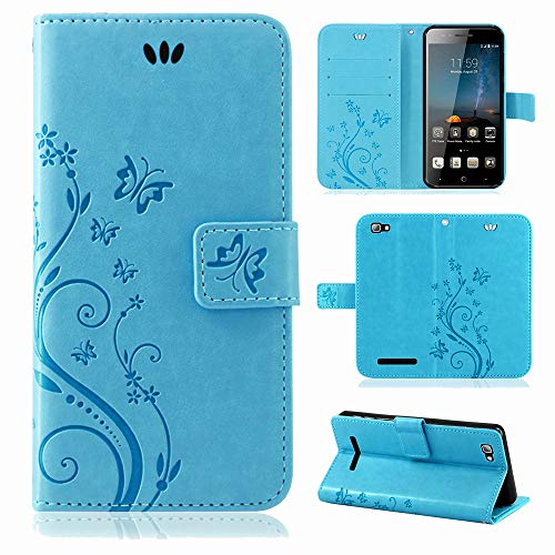 betterfon | Flower Case Handytasche Schutzhülle Blumen Klapptasche Handyhülle Handy Schale für ZTE Blade A612 Blau