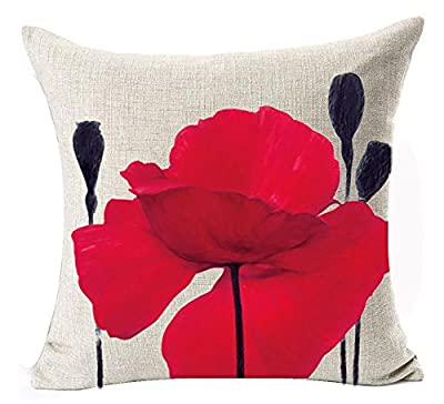 Andreannie Beautiful Charming Watercolor Oil Painting Red Poppy Sweetheart Cotton Linen Throw Pillow Case Cushion Cover New Home Office Indoor Decorative Square 18 X 18 Inches ¡
