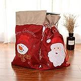 2 Pcs Père Noël Grand Sac Noël Toile 55 x 32 cm Christmas Santa Sack pour Cadeau Noël Décoration