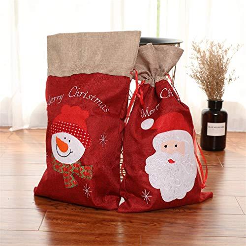Topanke 2 Piezas Navidad De Arpillera Sacos De Papá Noel Rústico Vintage Navidad Medias Bolsas De Regalo Bolsa de Santa