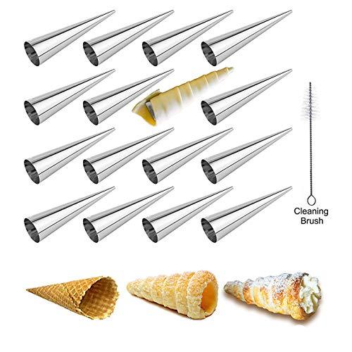Moules Crème Pâtissière en Acier Inoxydable, FantasyDay Lot de 16 Moules Cannoli Moule Pain Tube Croissant Fabrication - Accessoire Traditionnel dans Cuisine pour Spirale Croissants Corne Gâteau Moule
