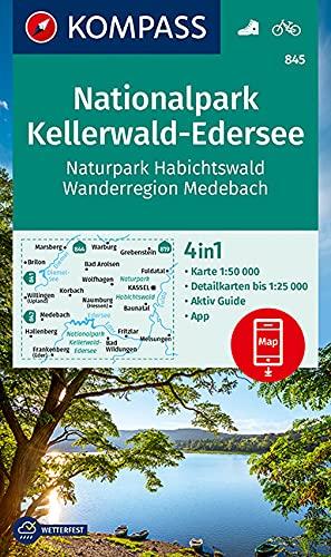 KOMPASS Wanderkarte Nationalpark Kellerwald-Edersee, Naturpark Habichtswald, Wanderregion Medebach: 4in1 Wanderkarte 1:50000 mit Aktiv Guide und ... Verwendung in der KOMPASS-App. Fahrradfahren.
