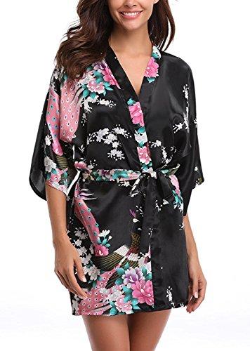 Uniquestyle femme kimono robe de nuit peignoir satin Fleurs Paon vetements chemise de nuit, Noir, L