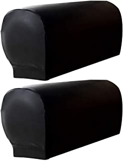 ZEENEEK 2pcs Sofa Armrest Covers,Armchair Arm Covers Stretch Sofa Arm Caps Armrest Covers for Chairs Furniture Protector Set,Armrest Covers Spandex PU Leather Arm Caps for Arm Slipcovers (Black)