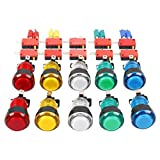 EG STARTS 10x Nuevo LED iluminado Arcade Botones pulsadores con microinterruptor Mame Multicade Elección de 5 colores