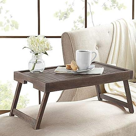 Acacia Wood Bed Tray in Grey