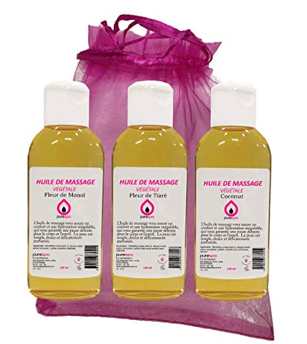 Coffret Modelage INVITATION AUX VOYAGES avec 3 flacons d'Huiles de massage végétale Parfumées...