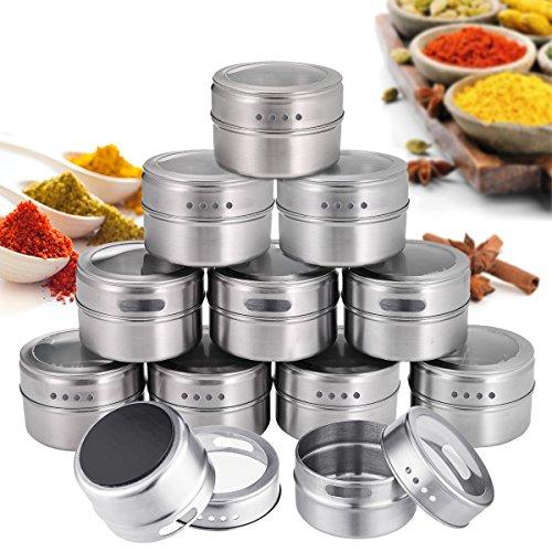 Janolia Pots à Épices Magnétique, Set de 12 Boîtes à Épices Magnétiques, pour BBQ Cuisine, Contenants à Épices Ronds en Acier Inoxydable, Tamiser et Verser, pour Sel, Poivre, Herbes ou Assaisonnements