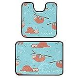 iRoad, set di 2 tappeti da bagno con motivo a forma di animale, antiscivolo, 50 x 50 cm, a forma di U, tappetino da bagno e tappetino da bagno da 40 x 60 cm