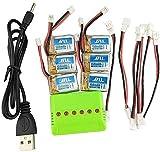 ZYGY 6pcs 3.7v 150mAH Batería Lipo y Cargador 6 en 1 y Cable convertidor de 6 Piezas para JJRC H36 E010 NIHUI NH010 RC Drone