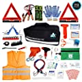 Roadside Emergency Car Kit – 112 Pieces Safety Assistance   First Aid Kit, Jumper Cables, Tow Strap Ropes, Reflective Safety Warning Triangle & Vest, Tools, Glass Breaker Hammer   Truck & Car (Black)