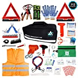 Roadside Emergency Car Kit – 112 Pieces Safety Assistance | First Aid Kit, Jumper Cables, Tow Strap Ropes, Reflective Safety Warning Triangle & Vest, Tools, Glass Breaker Hammer | Truck & Car (Black)
