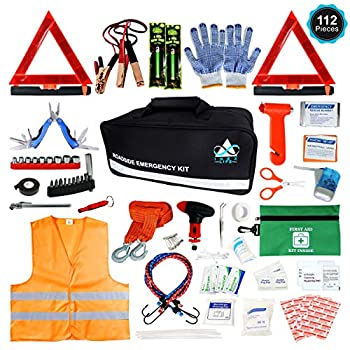Roadside Emergency Car Kit – 112 Pieces Safety Assistance   First Aid Kit Jumper Cables Tow Strap Ropes Reflective Safety Warning Triangle & Vest Tools Glass Breaker Hammer   Truck & Car  Black