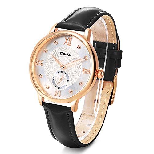 Time100 Orologio donna pelle, quadrante argento decorato con ghiglioscé#W80099L (Nero)