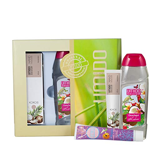 UMIDO Geschenk-Set | 1x Hand-Lotion 45 ml Kokos-Extrakt | 1x Duschgel 250 ml Kokos | 1x Hand-Lotion 45 ml Ringelblumen-Extrakt | Handcreme Set