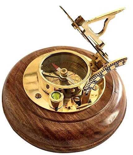 Ganga Nautical Sonnenuhr-Kompass aus Holz (Gold_7,6 cm)