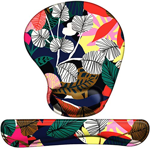 Mouse Pad with Wrist Support Ergonomic Gel, Keyboard Wrist Rest for Computer Keyboard with Raised Memory Foam for Desktop/Laptop/Notebook, Red Black Floral