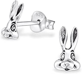 PTN Tiny Bunny Rabbit Studs Earrings Stering Silver 925 (E30739)