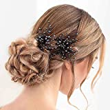 Barode Crystals Bridal Wedding Hair Pins Black Headpieces Bride Flowers Hair Accessories Jewelry for Women and Girls (Pack of 2)