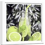Poster mit Rahmen weißer Zitrone Früchte Getränk Modern