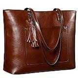 S-ZONE Women Vintage Genuine Leather Tote Bag Shoulder Purse Large Work Handbag
