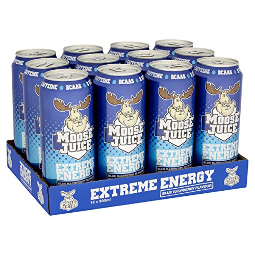 Muscle Moose Juice Extreme Energy - Blue Raspberry (12 x 500ml) 1er Pack(1 x 1 Stück)