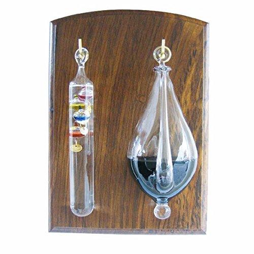 maritime-deco Wetterglas + Galileo/Glasthermometer auf Holz