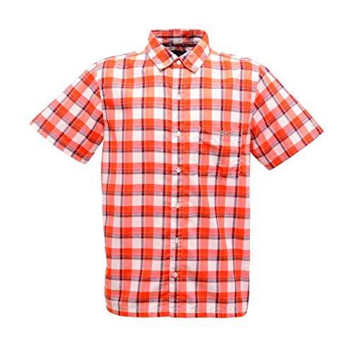 Regatta Great Outdoors Herren Adventure Tech Breckenridge Karo-Hemd, kurzärmlig (Small) (Magma-Orange)