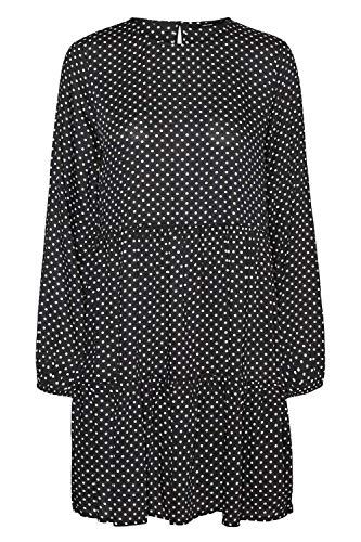Vero Moda Curve VMFIE LS Short Dress WVN GA Curve Vestido, Black/Detail:Birch Dot, 48 más para Mujer