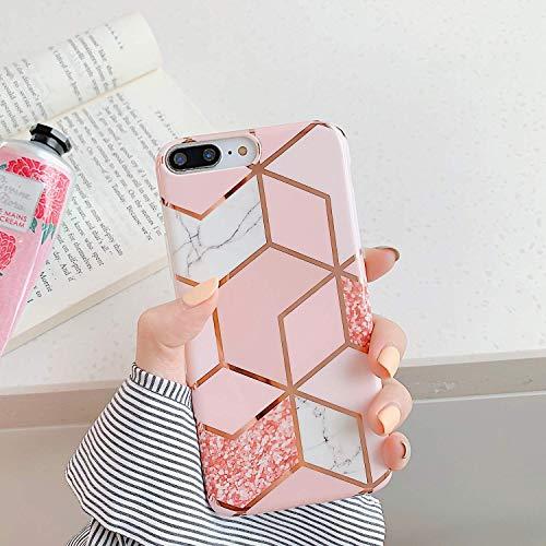 Uposao Kompatibel mit iPhone 7 Plus/iPhone 8 Plus Hülle Crystal Case Schutzhülle mit Muster Motiv Marmor Hülle Weiche TPU Silikon Slim Stoßfest Ultra Dünn Handyhülle Backcover Tasche,Marmor Rosa