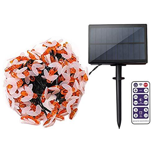 LED Lichterkette Außen Solar, 11M 60 LED Lichterkette 8 Modi Dimmbar Wasserdichte IP65 mit Fernbedienung und Timer für Garten Bäume Schlafzimmer Kinderzimmer Hochzeiten Partys