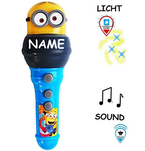 alles-meine.de GmbH elektrisches Mikrofon / Spielzeugmikrophon -  Minions - ich einfach unverbesserlich  - incl. Name - mit LICHT - kabellos - Soundeffekte & Binkt - 3 Funktion..