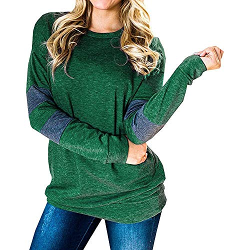KBUY Women's Color Block Long Sleeve Crewneck T Shirt Sweatshirt Tops Autumn Winter Women Long Sleeve Tshirts Ladies Jumpers Baseball Tops Round Neck Striped Pullover S-2XL